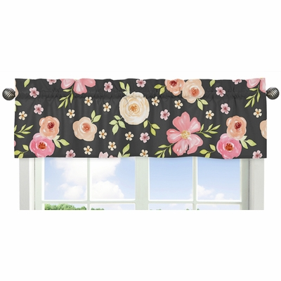 Watercolor Floral Black and Pink Collection Window Valance