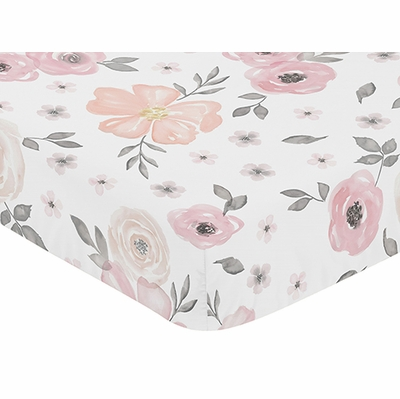 Watercolor Floral Pink and Grey Collection Crib Sheet - Flower Print