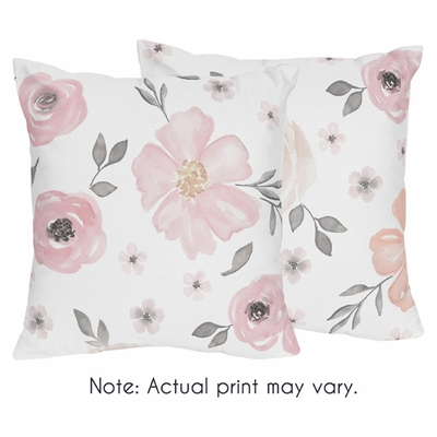 Watercolor Floral Pink and Grey Collection Decorative Accent Throw Pillows - Set of 2