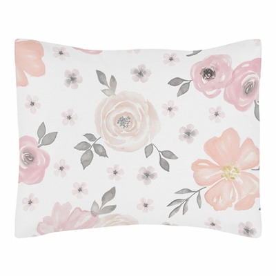 Watercolor Floral Pink and Grey Collection Pillow Sham