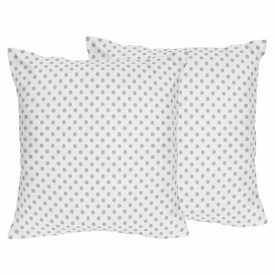 Watercolor Floral Pink and Grey Collection Polka Dot Decorative Accent Throw Pillows - Set of 2