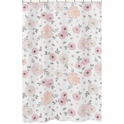 Watercolor Floral Pink and Grey Collection Shower Curtain