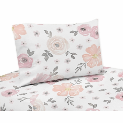 Watercolor Floral Pink and Grey Collection Twin Sheet Set