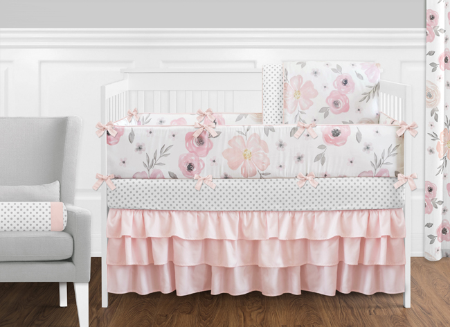 Pink And Grey Watercolor Fl 9 Piece, Grey And Crib Bedding