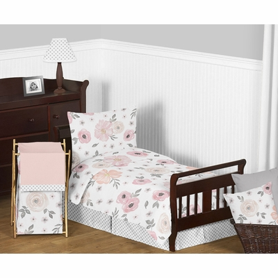 Watercolor Floral Pink and Grey Toddler Bedding Collection