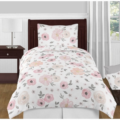 Watercolor Floral Pink and Grey Twin Bedding Collection