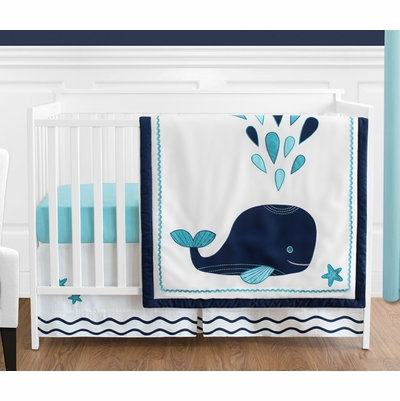 Whale 4 Piece Bumperless Crib Bedding Collection