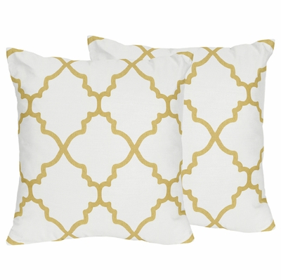 Trellis White and Gold Collection Decorative Accent Throw Pillows - Set of 2