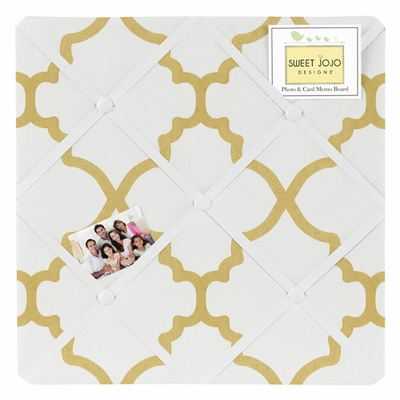 Trellis White and Gold Collection Fabric Memo Board