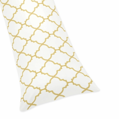 Trellis White and Gold Collection Full Length Body Pillow Cover