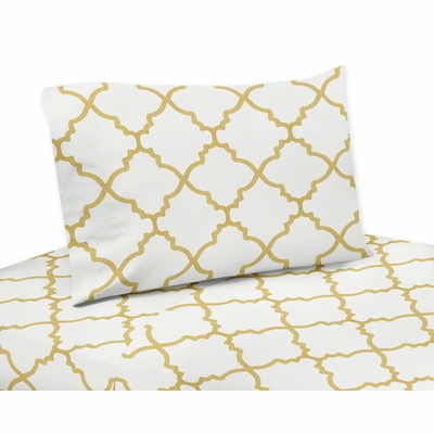 Trellis White and Gold Collection King Sheet Set