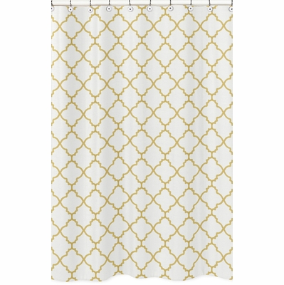 Trellis White And Gold Collection Shower Curtain