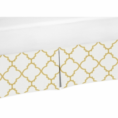 Trellis White and Gold Collection Twin Bed Skirt