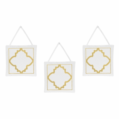 Trellis White and Gold Collection Wall Hangings