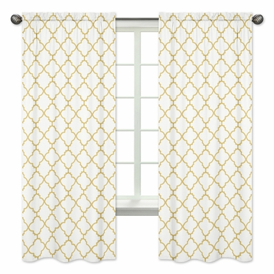 Trellis White and Gold Collection Window Panels - Set of 2