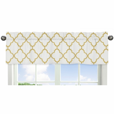 Trellis White and Gold Collection Window Valance