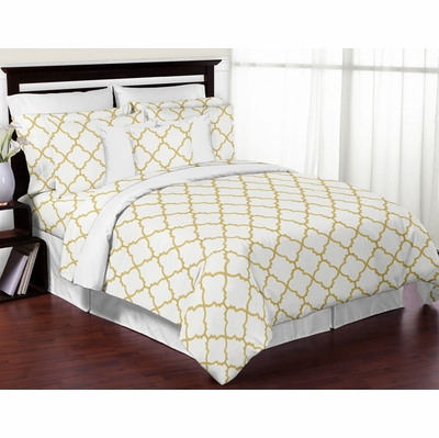 Trellis White and Gold King Bedding Collection