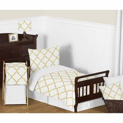 Trellis White and Gold Toddler Bedding Collection