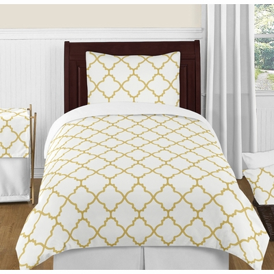 Trellis White and Gold Twin Bedding Collection