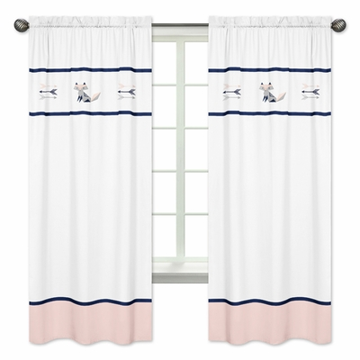 Window Panels for  Fox Patch Pink and Navy Collection - Set of 2