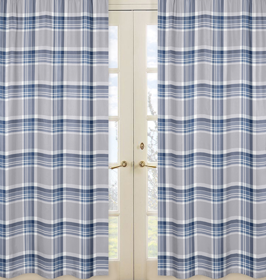 Window Panels For Plaid Navy Blue And Gray Collection Set Of 2