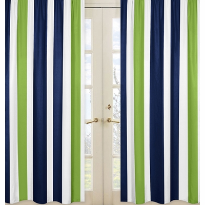 Window Panels for Stripe Navy and Lime Collection  - Set of 2