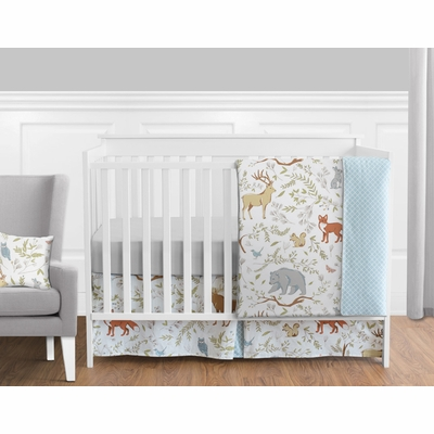Woodland Toile 11 Piece Bumperless Crib Bedding Collection
