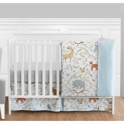 Woodland Toile 4 Piece Bumperless Crib Bedding Collection