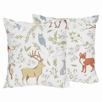 Woodland Toile Collection Decorative Accent Throw Pillows - Set of 2