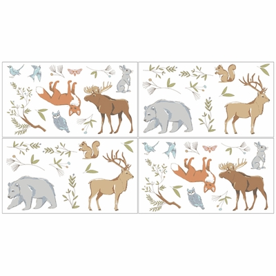 Woodland Toile Collection Peel and Stick Wall Decal Stickers - Set of 4 Sheets