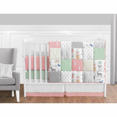 Woodsy Coral, Mint and Grey Crib Bedding Collection