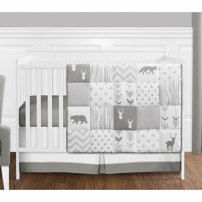 Woodsy Grey and White 4 Piece Bumperless Crib Bedding Collection