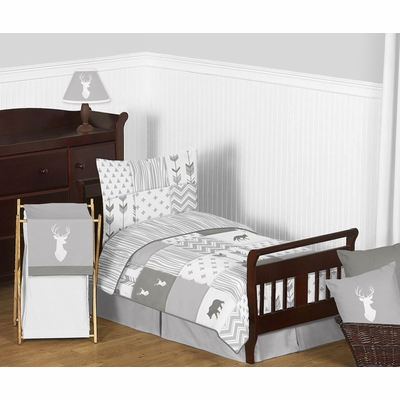 Woodsy Grey and White Toddler Bedding Collection