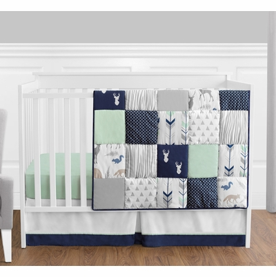 Woodsy Navy, Mint and Grey 4 Piece Bumperless Crib Bedding Collection
