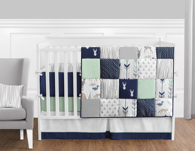 Navy Mint And Grey Woodsy 9 Piece Crib, Grey And Crib Bedding