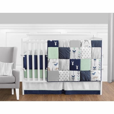 Woodsy Navy, Mint and Grey Crib Bedding Collection