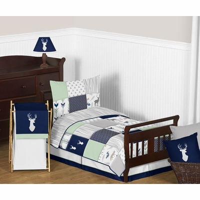 Woodsy Navy, Mint and Grey Toddler Bedding Collection