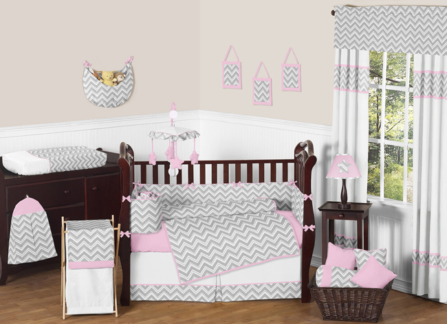 Zig Zag Pink And Gray Chevron Crib Bedding Collection Enlarge