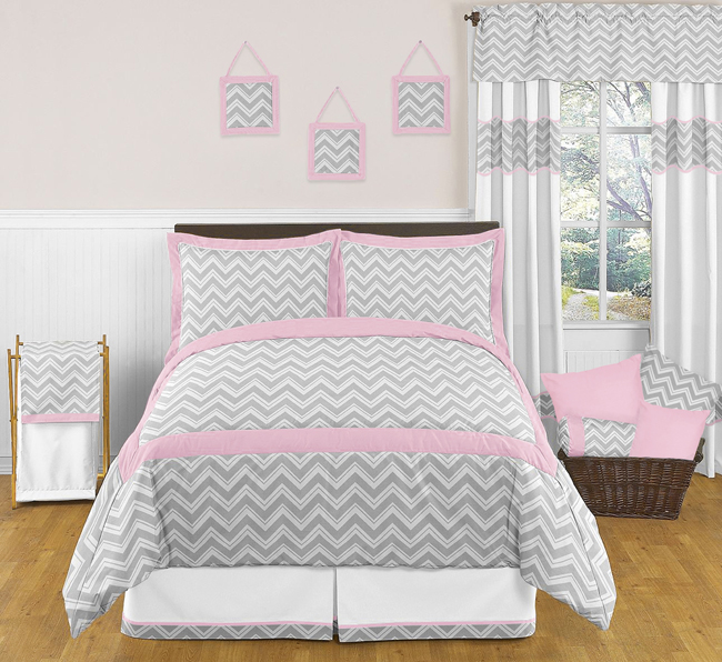 Zig zag pink and gray chevron full queen bedding collection for Zig zag bedroom ideas