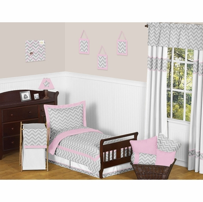 Zig Zag Pink and Gray Chevron Toddler Bedding Collection