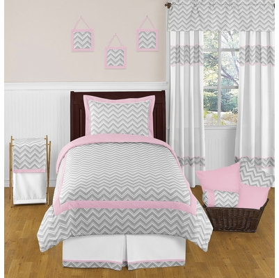 zig zag pink and gray chevron twin bedding collection. Black Bedroom Furniture Sets. Home Design Ideas