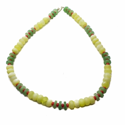 Aventurine Jade and Coral Necklace