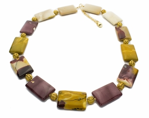 Mookaite Pillows and Filigree Beads Necklace