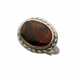 Red Creek Jasper and Sterling Silver Ring