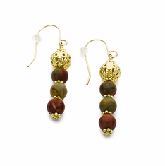 Red Creek Jasper & Golden Filigree Earrings