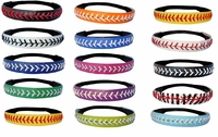 6 Leather Softball Seam Stitch Headband - 6 Pack