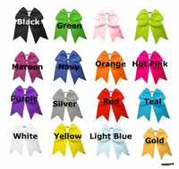 """7"""" Big Hair Bows With Ponytail Holder 50 Pack U Pick Colors"""