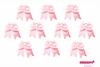 "7"" Big Hair Bows With Ponytail Holder Light Pink 10 Pack"