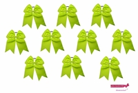 "7"" Big Hair Bows With Ponytail Holder Lime 10 Pack"