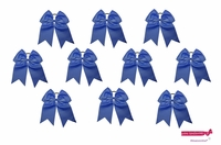 "7"" Big Hair Bows With Ponytail Holder Navy 10 Pack"